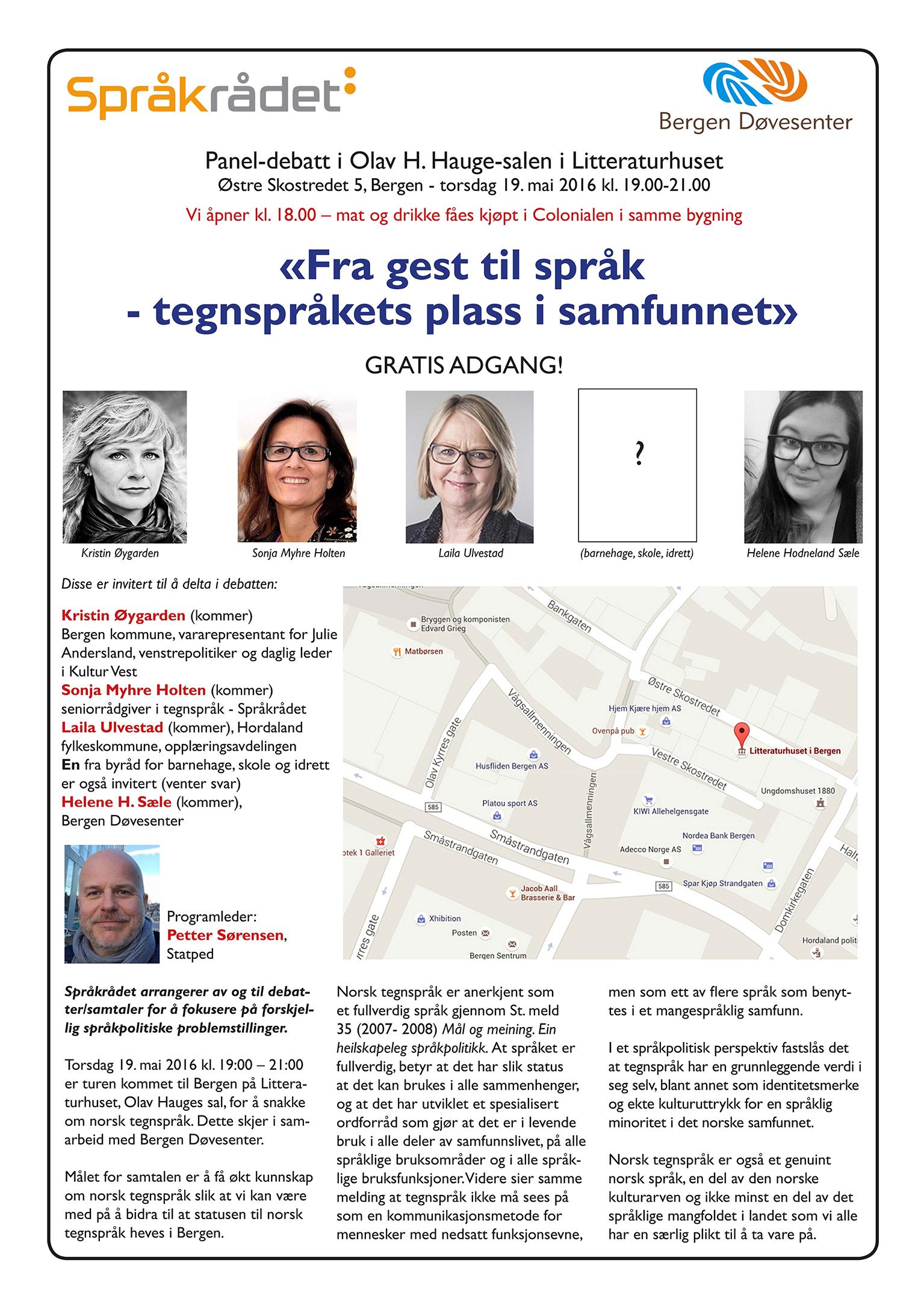 2916-05-19 Panel debatt i Litteraturhuset Bergen